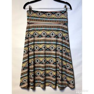 Lularoe Azure Skirt Medium Stretchy Pink and Tan